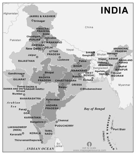 Free India States Map black and white   Black and White