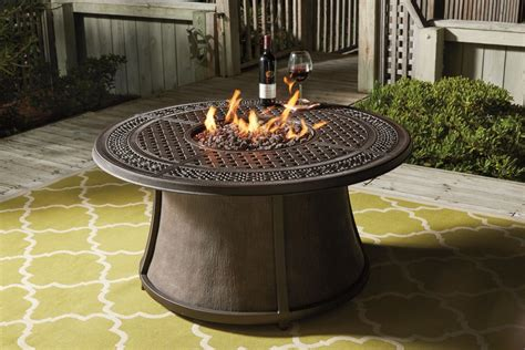 home design furniture com burnella brown round fire pit table top p456 776t