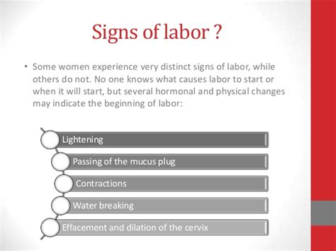 labor signs management during labor
