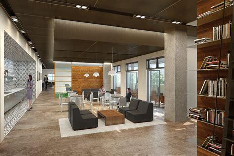 modern industrial office shubin donaldson gk lounge renderings