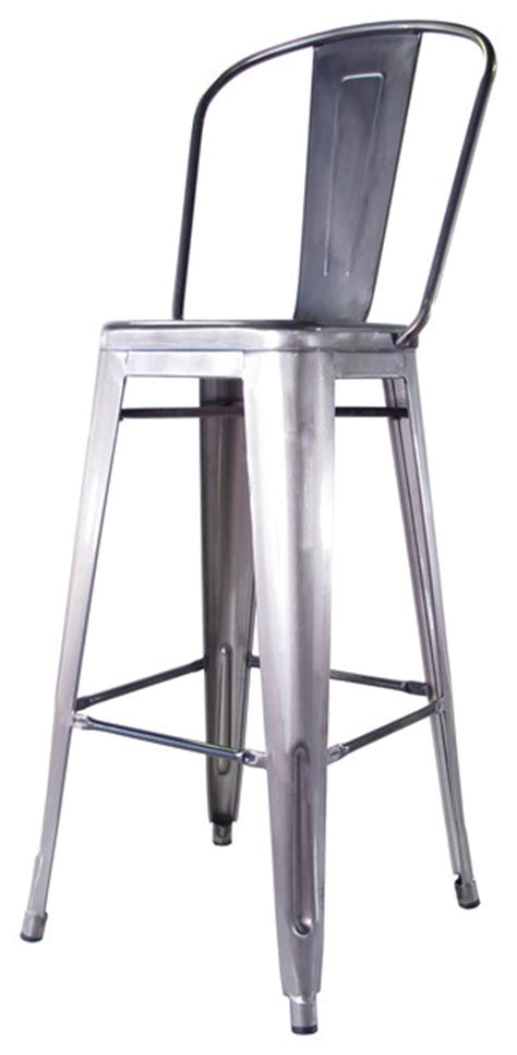 industrial metal bar stools with backs bouchon french industrial steel with back cafe bar stool