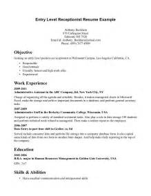 Receptionist Resume Sle Skills by Free Resume Sle For Receptionist Receptionist Resume