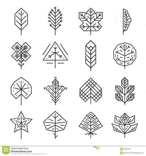 geometric pattern leaf hipster geometric thin line leaves for logos and stock