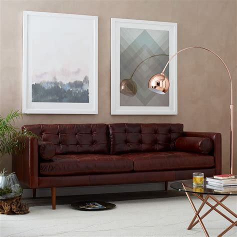 west elm monroe sofa review mid century modern brown leather sofa sofa review