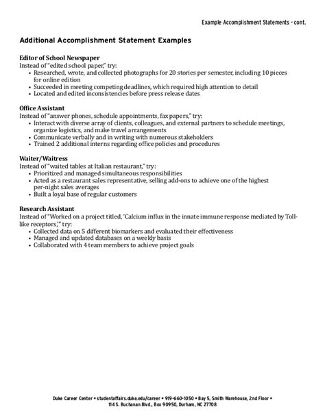Power Statements Exles For Resumes Wonderful Resume Power Statements Contemporary Resume