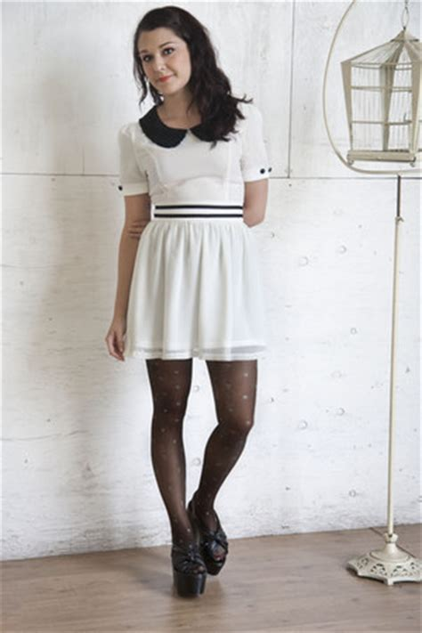 black white dress with tights white modcloth dresses black modcloth tights black