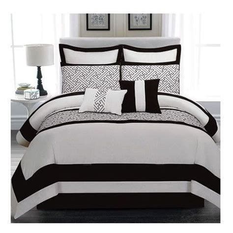 black and white geometric comforter new bed bag king queen 8 pc black white border geometric
