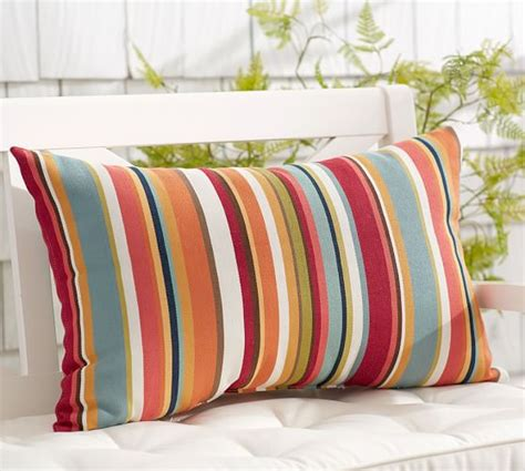 Pottery Barn Outdoor Pillow giorgia stripe indoor outdoor lumbar pillow pottery barn