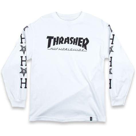Kaosbajut Shirt Thrasher 1 huf x thrasher collab logo sleeve t shirt white