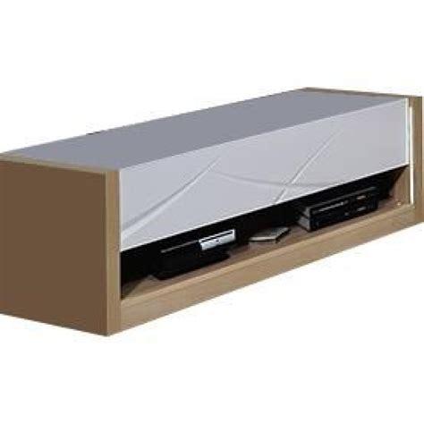 meuble tv 224 1 tiroir coloris blanc laqu 233 et bois avec led