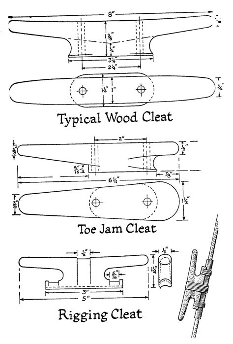 wooden boat cleats pattern for a cleat
