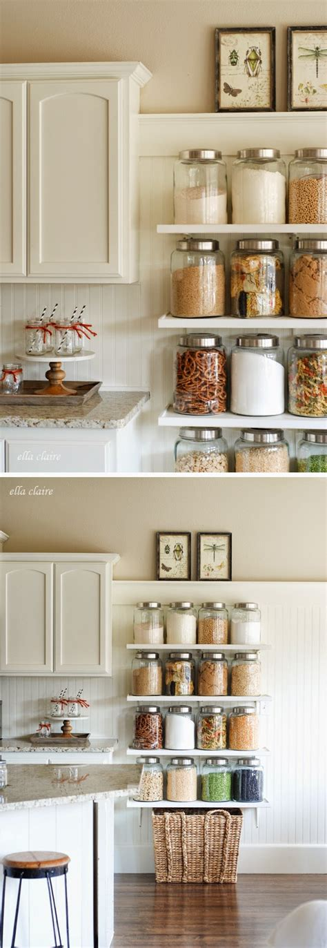 Kitchen Cabinets Shelves Ideas Diy Country Store Kitchen Shelves Glass Canisters Shelving And Pantry