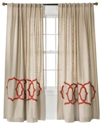 target coral curtains threshold fretwork border window panel tan coral