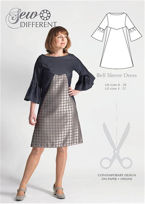dress pattern with sleeves bell sleeve dress multi size sewing pattern sew different