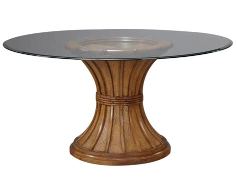 Pedestal Dining Table Contemporary Oak Wooden Combine With Gray Solid Polished