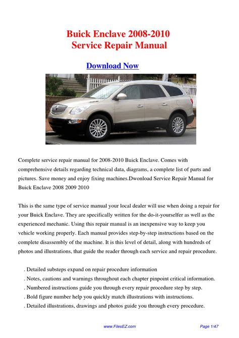 how to download repair manuals 2010 buick enclave electronic throttle control 2008 2010 buick enclave service repair manual by yang rong issuu