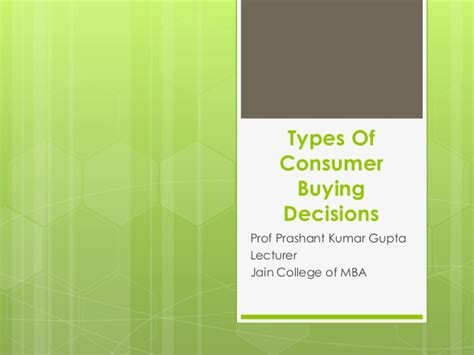 Classification Of Consumer Products Mba Notes by Types Of Consumer Buying Decision