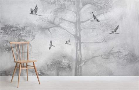 gray painted tree tops wall mural  images tree