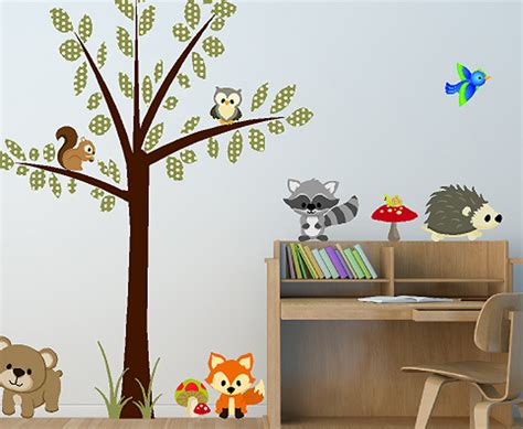 animal stickers for walls woodland creatures forest animals wall decals