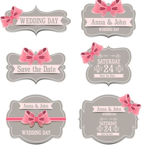 Wedding Labels by Wedding Day Ribbon Label Vector Free Vector Graphic