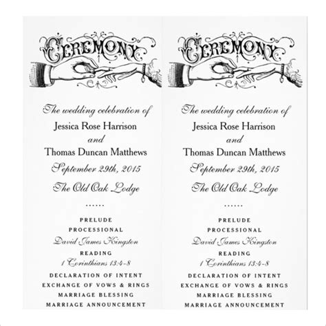 wedding ceremony template 19 wedding ceremony templates free sle exle