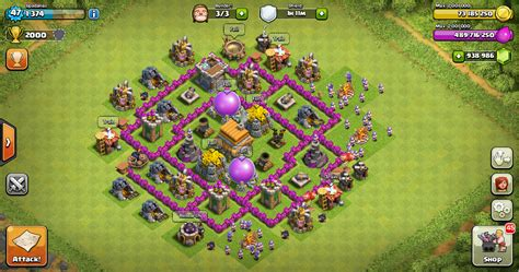 coc map layout th6 clash of clans th6 defense clash of clans town hall 7