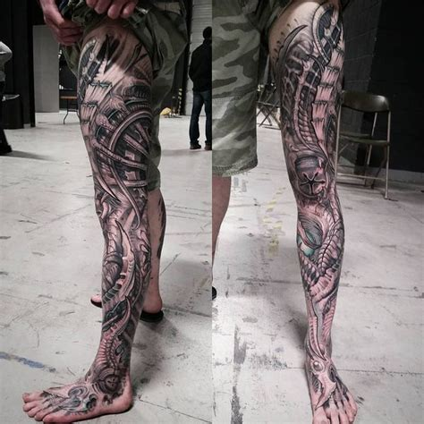 collection of 25 biomechanical tattoo for your leg