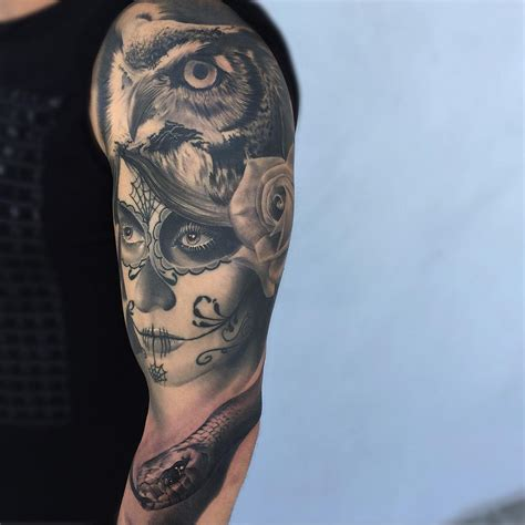 owl tattoo sleeve owl hat santa muerte sleeve best