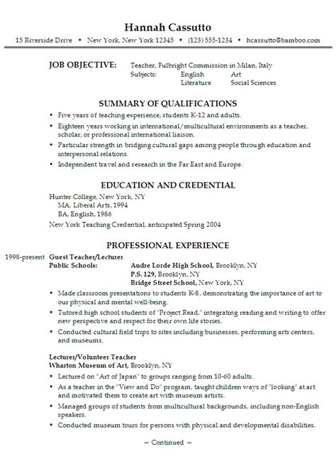 Resume Sle Of Teaching Lecturer Resume In Education Sales Lecture Lewesmr
