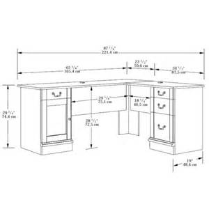 desk sizes l shaped desk by sauder