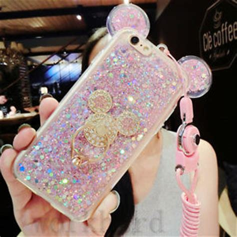 Ring Stand Water Glitter 3d luxury bling giltter mouse ring kickstand
