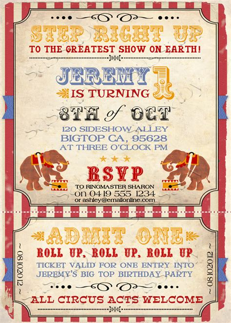 vintage circus invitation by sassaby diy printable