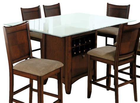 jofran carlsbad ii glass top storage counter height table