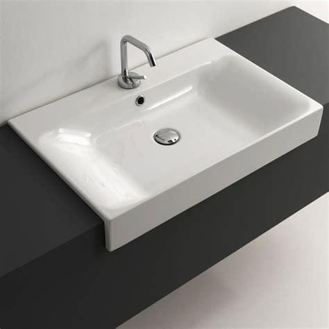 semi recessed bathroom sink ws bath collections cento ceramic semi recessed bathroom