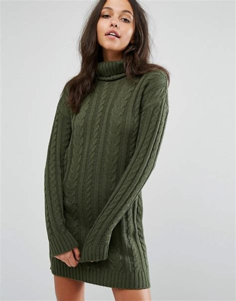 kabel verkleiden missguided missguided roll neck cable knit mini dress