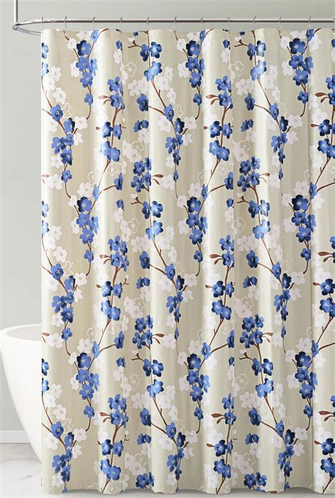 Navy White And Taupe Floral Design Peva Shower Curtain Liner Odorless Pvc And Chlorine Free