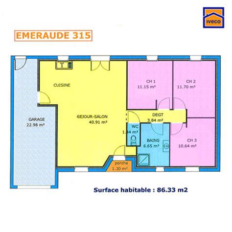 plan maison 2 chambres plain pied plan de maison individuelle plain pied