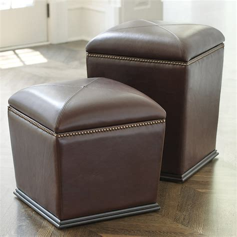 Tapered Leather Storage Stool Counter Height Storage Stools Ottomans