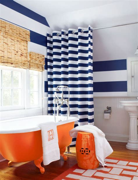 blue and orange bathroom friday finds pop of orange in design wallums com wall