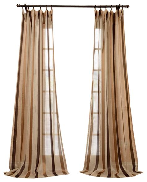 Taupe Striped Curtains Carlton Taupe Linen Blend Stripe Sheer Curtain Traditional Curtains By Half Price Drapes