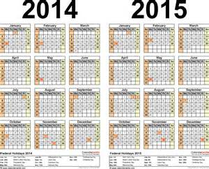 2 Year Calendar 2014 2015 Calendar Free Printable Two Year Pdf Calendars