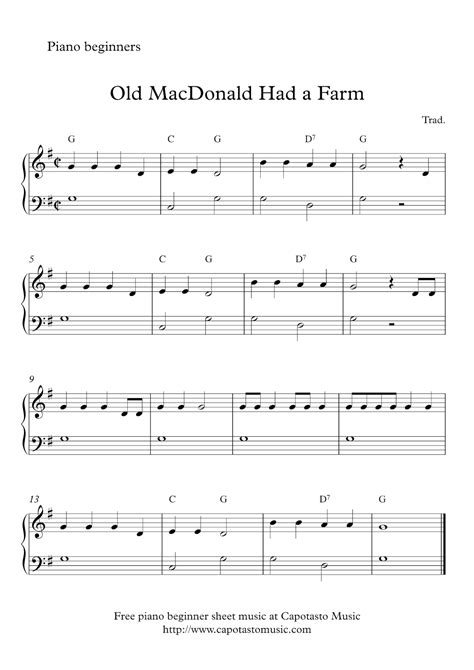 Free Printable Sheet Music Keyboard Beginners | free easy beginner piano sheet music old macdonald had a
