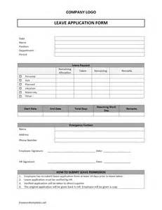 Application Forms Templates by Leave Application Form Freewordtemplates Net