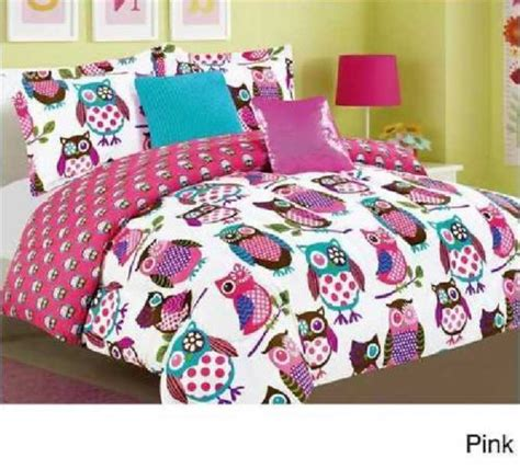 orange and pink comforter sets yukon night owls microfiber 5 piece comforter set pink