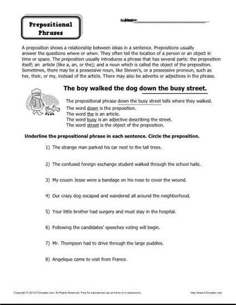 printable preposition quiz preposition worksheet prepositional phrases activities