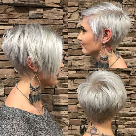 women short hairstyles for thick hair plantinum long pixie with bangs silver haircuts pinterest