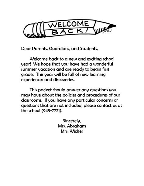 Parent Letter Template Back To School Best Photos Of Sle Welcome Back Letters Elementary School Welcome Back Letter Welcome Back