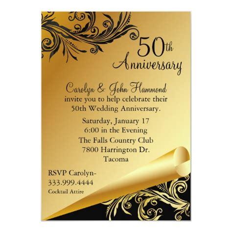 Black Gold 50th Wedding Anniversary Invitation Zazzle 50th Wedding Anniversary Templates