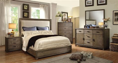 ash bedroom furniture furniture of america antler 7615 ash wood fabric headboard