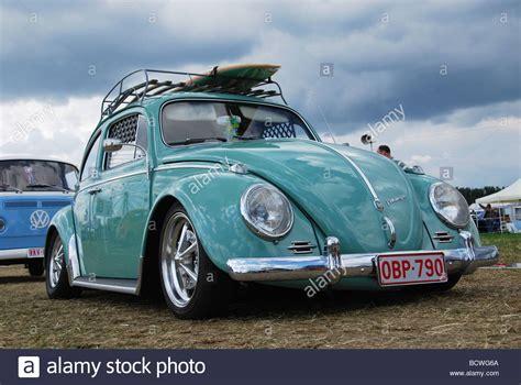 mint motors classic mint green vw beetle low rider stock photo